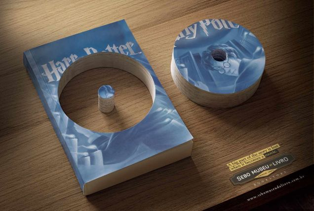 Clever ad displays importance of books over movies.