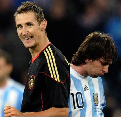 2010, KLOSE AND MESSI. GERMANY AND ARGENTINA HAVE FACED EACH OTHER IN THE PAST 3 WORLD CUPS