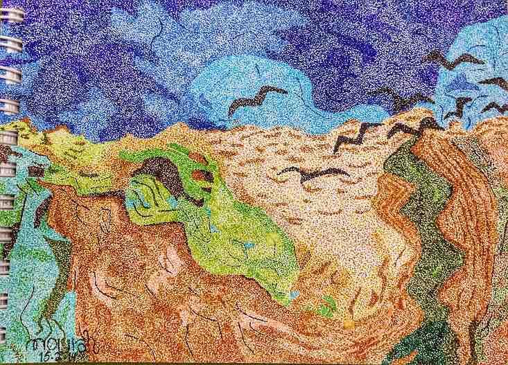 Re-worked Van Gogh, Wheatfield with Crows, 1890. Artist: Nourah Abdullah