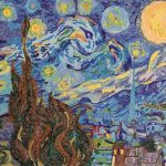 Vincent Vangogh, Starry Night, 1889- Recreated using Stabilo & Staedtler fine pens