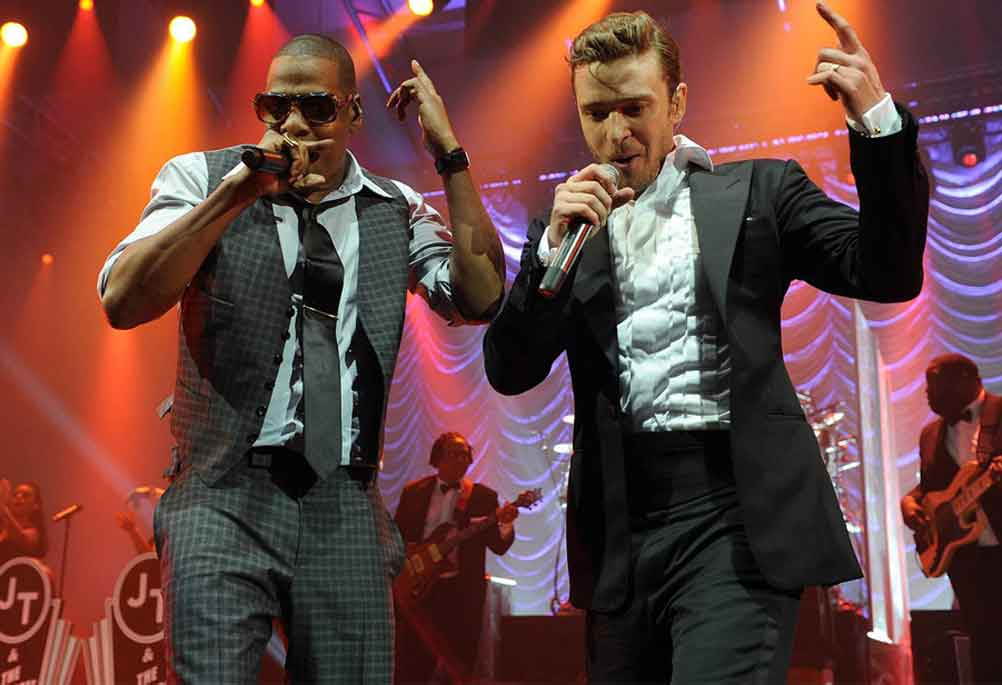 "Rap ""mogul"", Jay-Z performing on Justin Timberlake's tour."